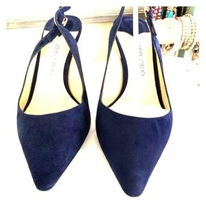 NEW JIMMY CHOO Erin Navy Suede 8.5